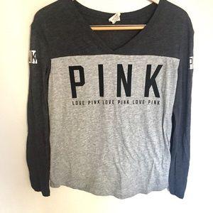 Pink v neck varsity shirt